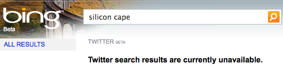 Silicon Cape Twitter Search on Bing
