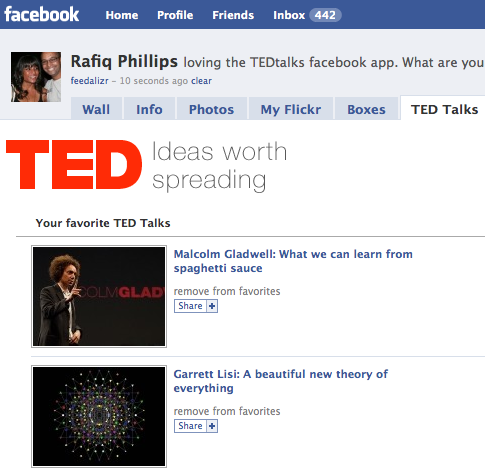 TED Facebook app allows you to share your favourite talks with your facebook friends