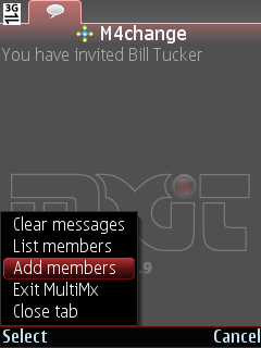 Invite contact to the MXit chatroom by selecting dd Members from the menu