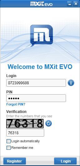 Login to MXit Evo