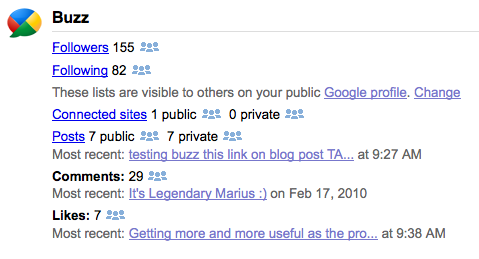 Google Buzz on your Dashboard