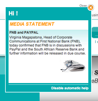 FNB announces PayPal discussions