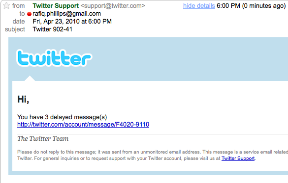 Twitter Delated Messages spam