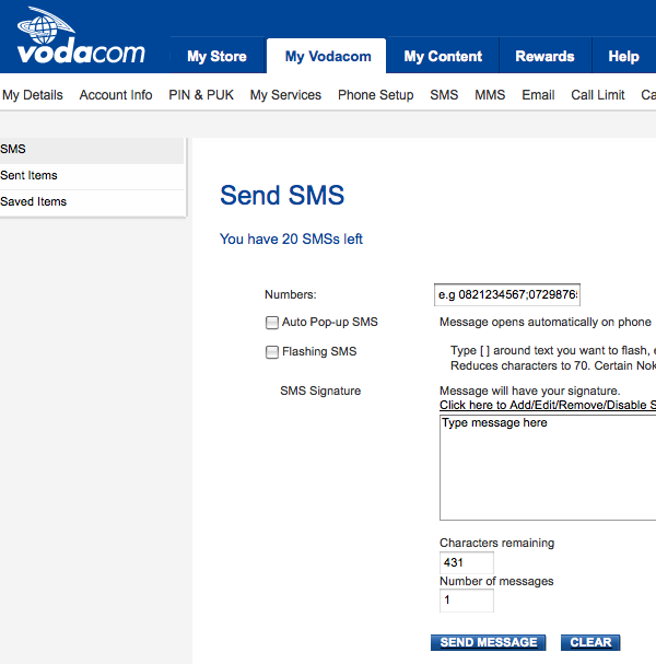 Vodacom.co.za free SMS