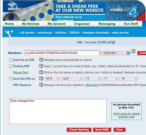 Vodacom4me Free SMS