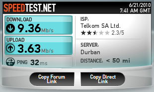 Internet Speed test at Green point Stadium