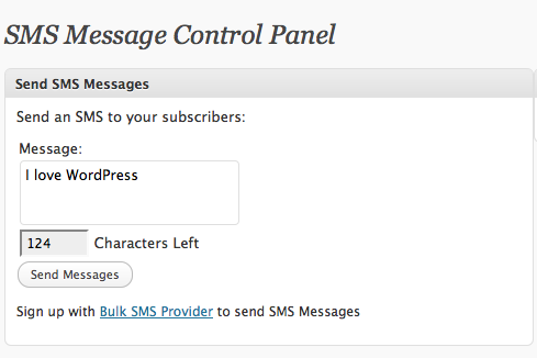 Send a Bulk SMS to your WordPress subscribers