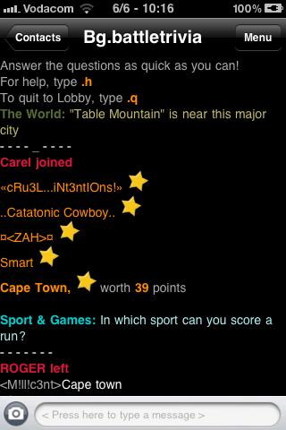 Batlle Trivia on MXit