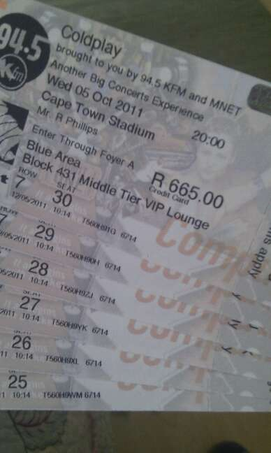 Coldplay Tickets - Cape Town
