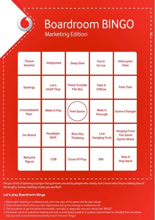 Marketing Meeting Boardroom Bingo