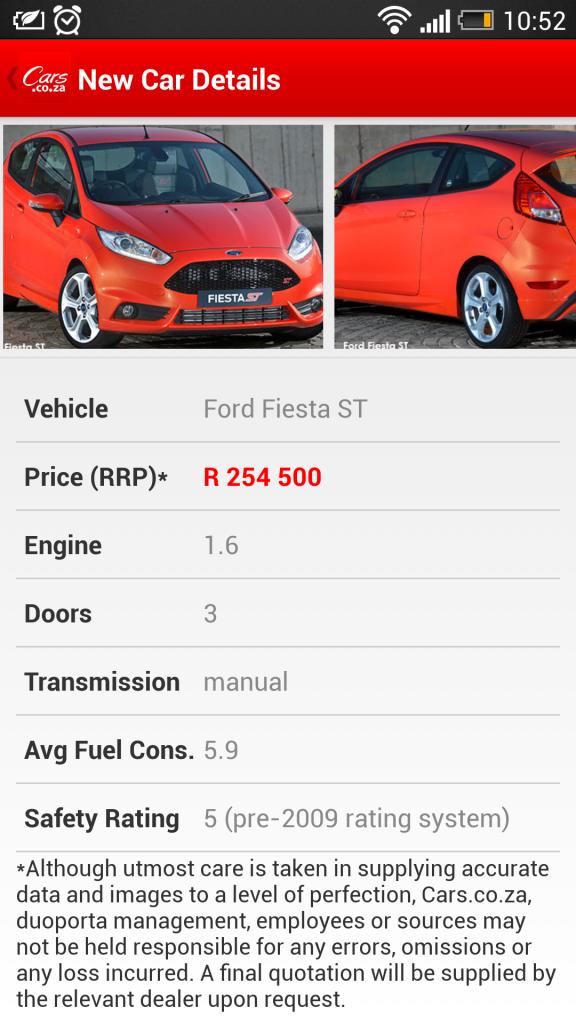 cars.co.za ford fiesta st price