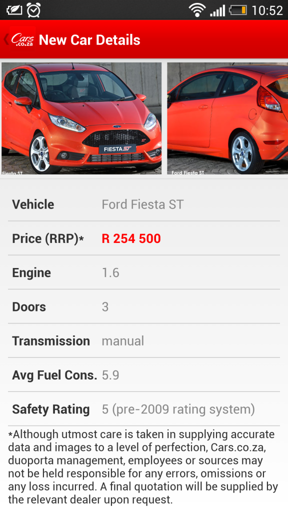 cars.co.za ford fiesta st price