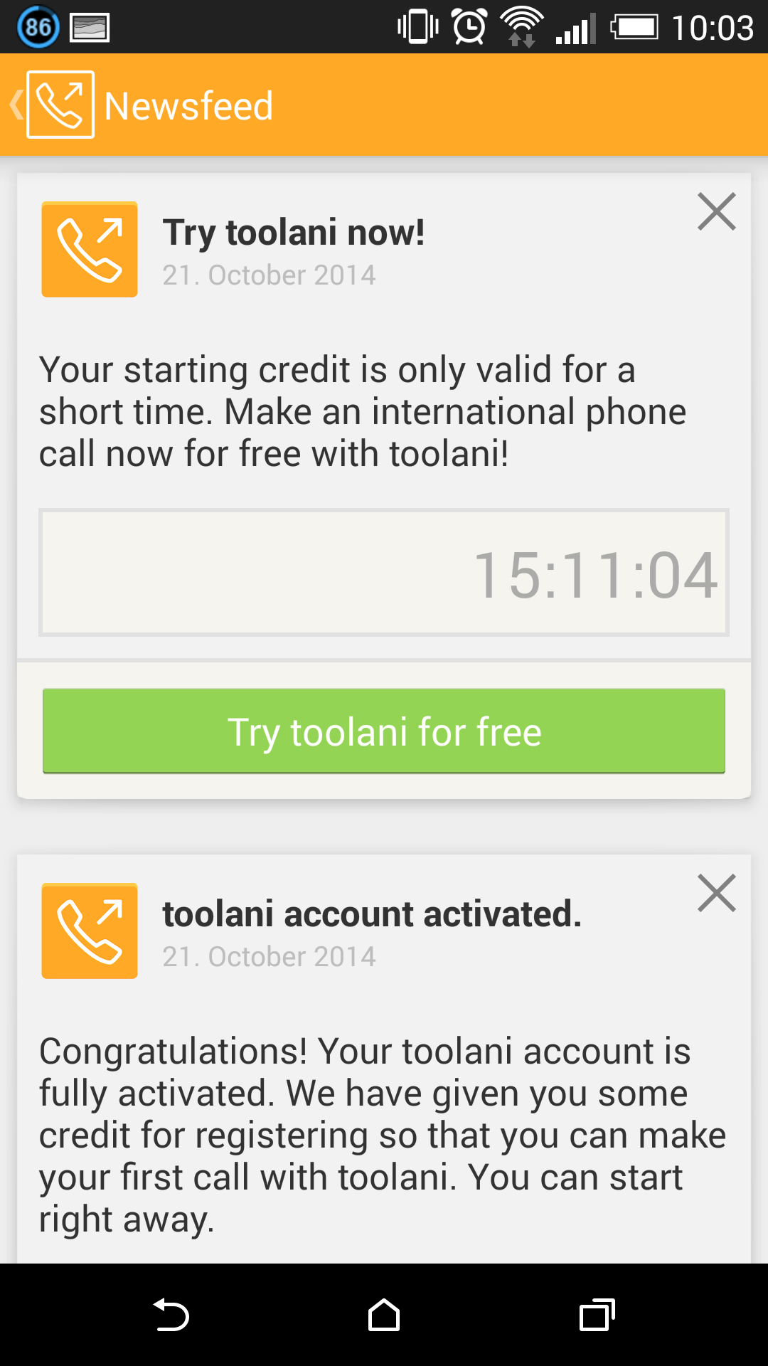 newsfeed inside toolani