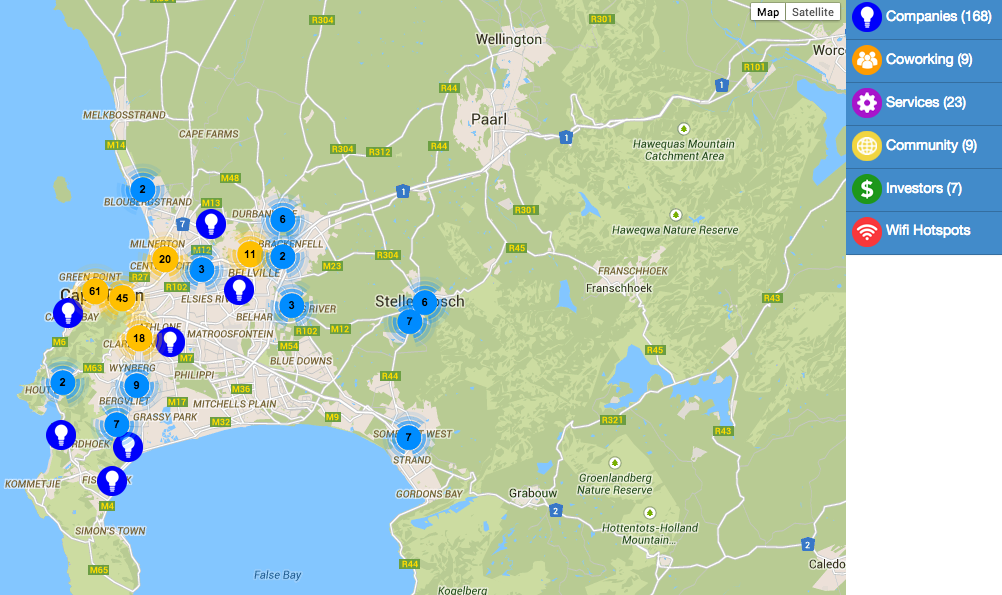 Map of Cape Town Startups Cape Town Map on