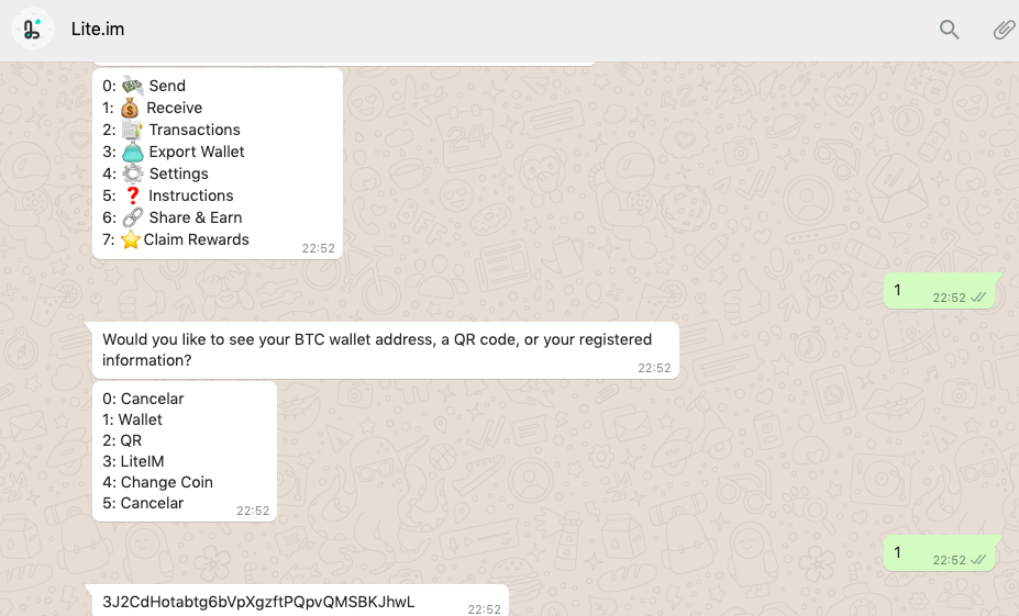 whatsapp web btc wallet